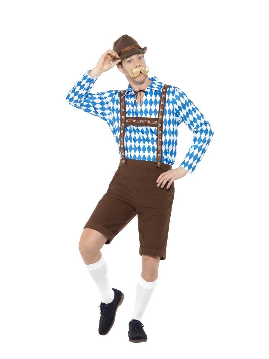 Køb Tyroler bukser brune med blå hvid skjorte. til 229,00 Kr.