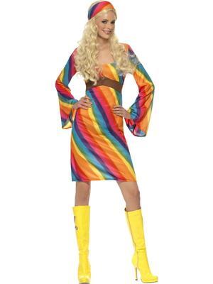 Regnbuefarvet hippie kostume
